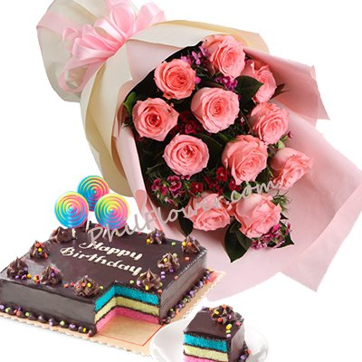 12 Pink Roses W Rainbow Dedication Cake