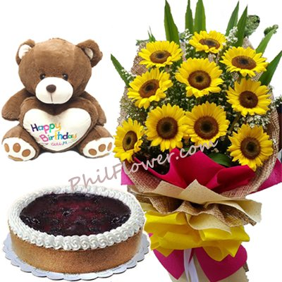 Birthday 10 Sunflower With Blueberry Cake And Bear To