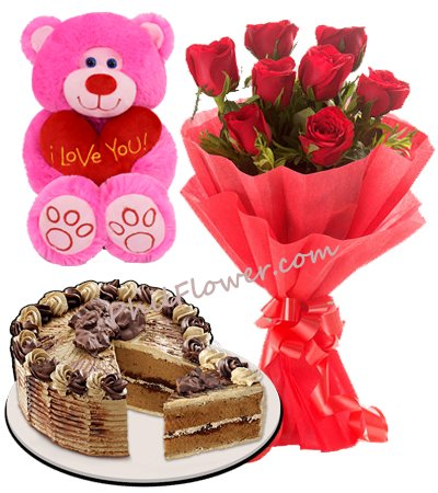 Red Ribbon Cake With 8 Red Roses And Small Bear To Philippines