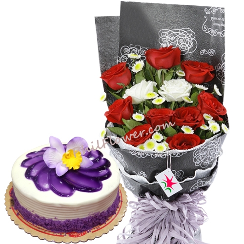 Delivery Roses With Ube Cake By Red Ribbon To Philippines