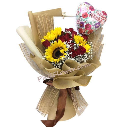 Send Roses With Sunflower And Birthday Balloon In Bouquet To Philippines