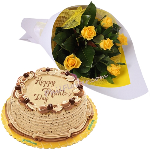 Send 6 Yellow Roses With Mothers Day Cake To Philippines