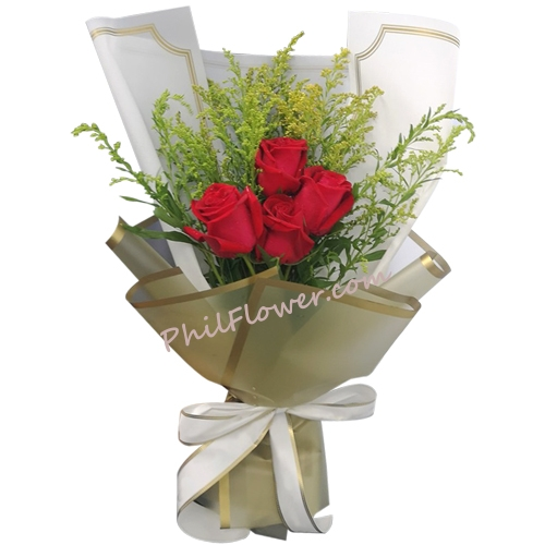 Send 4 Pcs. Red Color Roses in Bouquet to Philippines