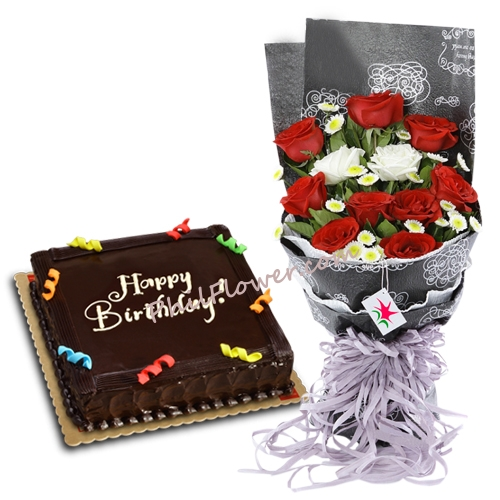 Enjoyable Send 12 Roses With Birthday Cake By Red Ribbon To Manila Only Funny Birthday Cards Online Inifofree Goldxyz